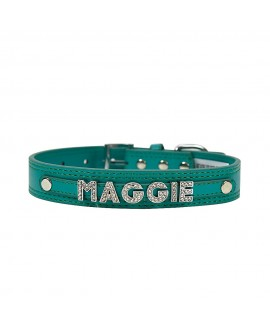 7 Letters Teal Green Personalised Collar