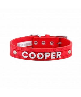7 Letters Teal Red-S Personalised Dog Collar