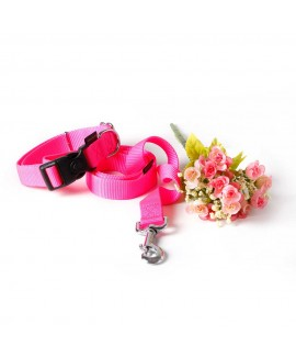 HUFT Barklays Dog Collar and Leash Combo-Pink (Large)