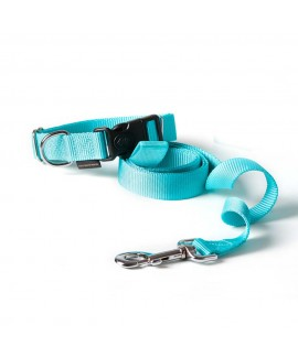 HUFT Barklays Dog Collar and Leash Combo-Turquoise (Large)