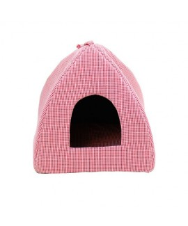 HUFT Checked Tent Bed for Puppies and Cats-Red
