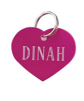 HUFT Heart Dog Name Tag-Pink