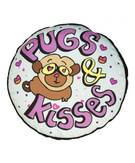HUFT Pugs Kisses Round Dog Bed
