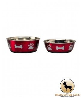 Red- Bones and Paws Dog Bowl -S and M