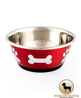 Red Bones Paws Dog Bowl
