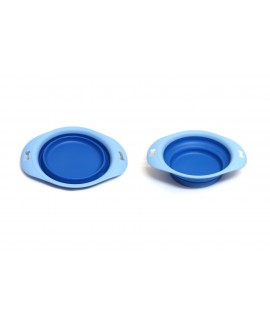 Small Foldable Dog Bowl With Tray-Blue