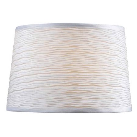 Drum Lamp Shade in White Jute Fabric for Table Lamp