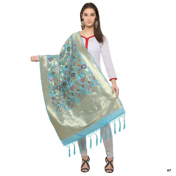 Kf Light Bluegolden Zari Work Banarasi Style Dupatta Manufacturer In Gujarat Id 3674279