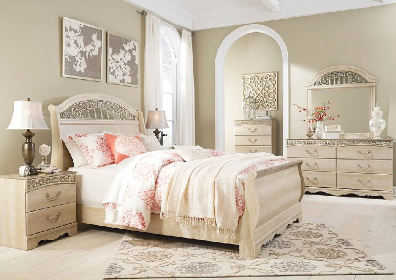 Catalina Antique White Queen Sleigh Bed