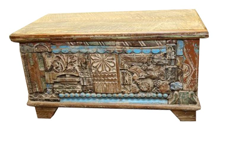 Antique Reclaimed Wooden Storage Trunk Box