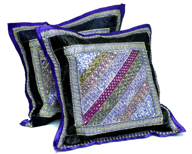 2 Dark Blue Embroidery Indian Sequin Sari Vintage Throw Pillow Krishna Mart Cushion Covers (2)