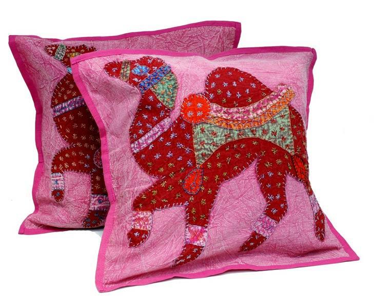 decorative boho accent unique pretty patchwork 16x16.htm 2 pink red handcrafted applique patchwork ethnic indian camel  applique patchwork ethnic indian camel