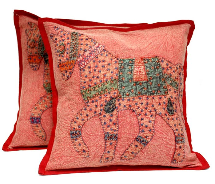 decorative boho accent unique pretty patchwork 16x16.htm 2 red handcrafted applique patchwork ethnic indian horse throws  patchwork ethnic indian horse throws