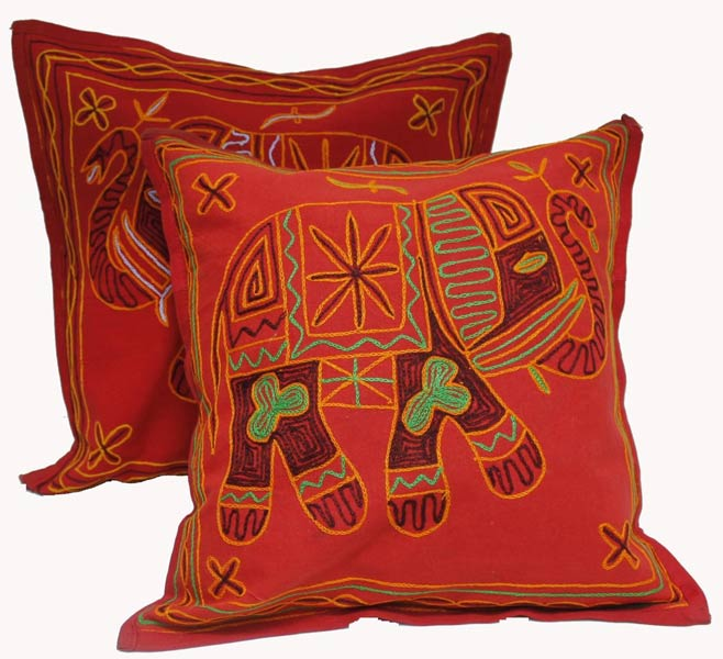 2 red handcrafted embroidered ethnic indian elephant throws