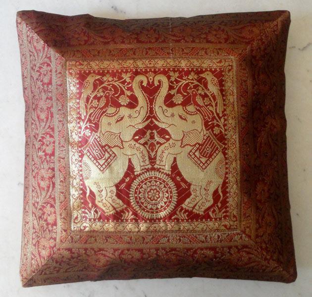 "16/"" Brown Indian Ethnic Elephant Suzani Brocade Cushion Cover Handmade Zip UK"