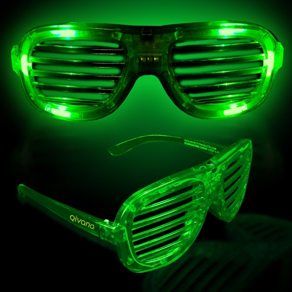 Green Light Up Glow LED Slotted Glasses
