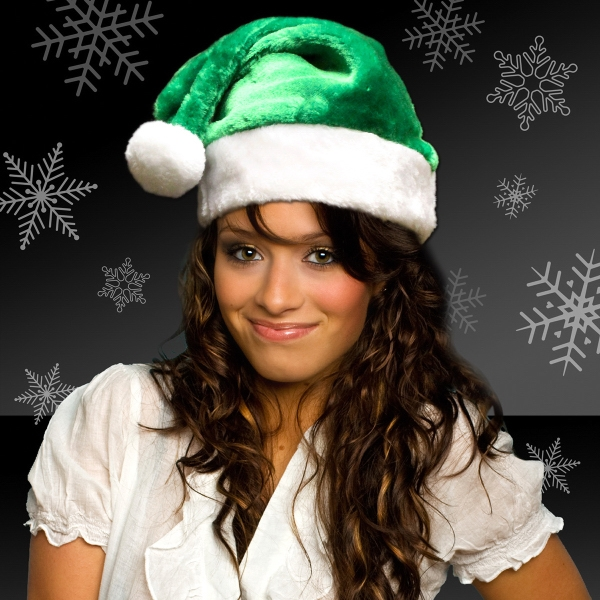 Green Plush Santa Hat (Blank)
