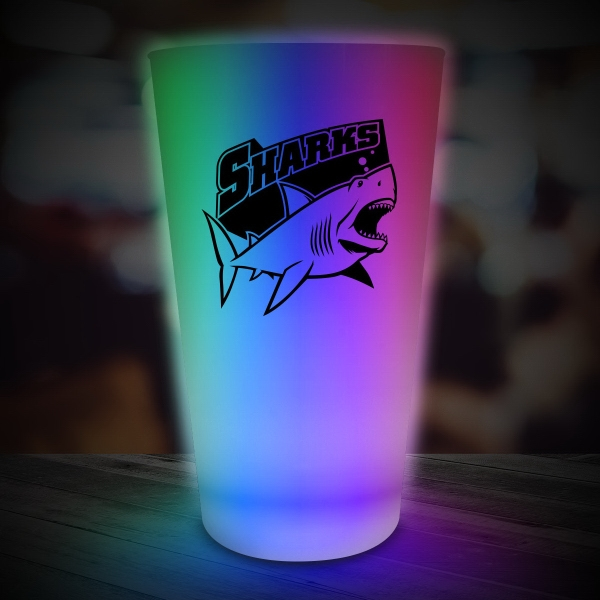 Multi Color LED Light Up Glow Neon Look 16 oz Pint Glass