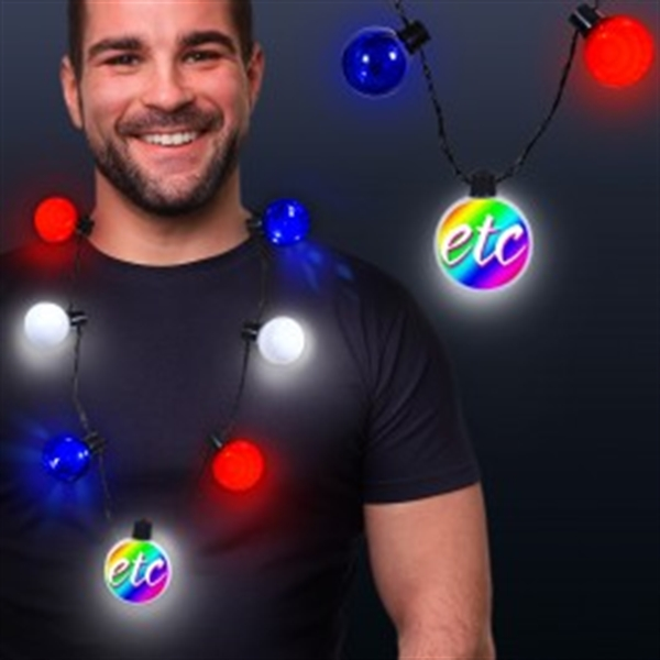 Patriotic LED Medallion Ball Necklace (LBN041)