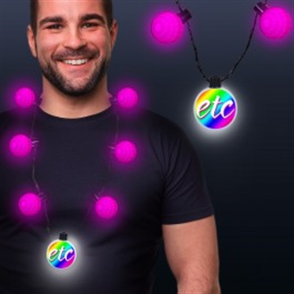 Pink LED Medallion Ball Necklace