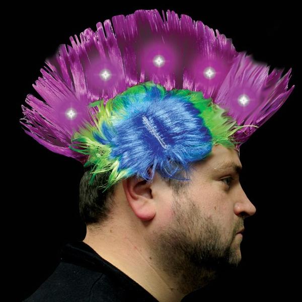 Purple & Pink Light Up LED Mohawk Costume Wig