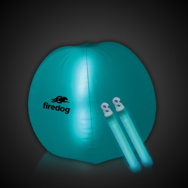 "Translucent Aqua 24"" Inflatable Beach Ball with Glow Stick"