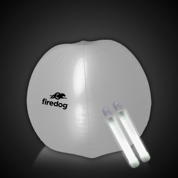 """Translucent White 24"""" Inflatable Beach Ball with Glow Stick"""