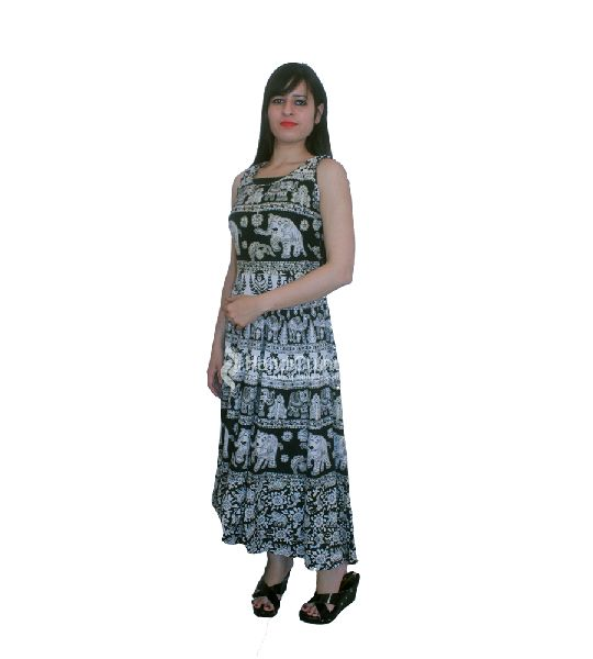 Black Rajasthani Printed Cotton Evening Dress Manufacturer in ... ce8b748b4
