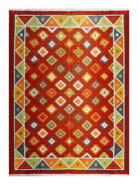 Hand Loom Weaving Wool Kilim Rug (UDKLM192)