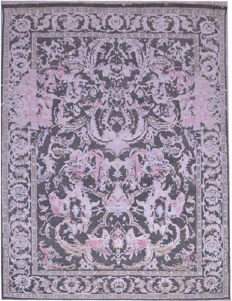 Wool Bamboo Silk Oxidized Grey Color Rug (UDWOO530)