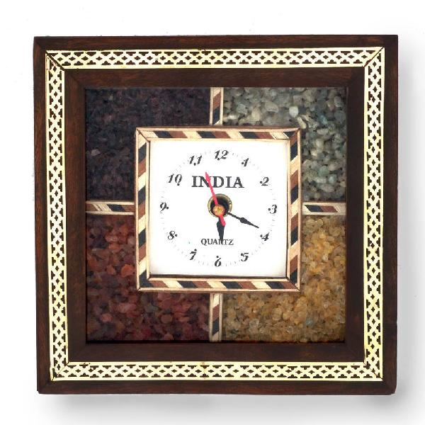 Little India Antique Handcrafted Gemstone Wooden Wall Clock (HCF189)