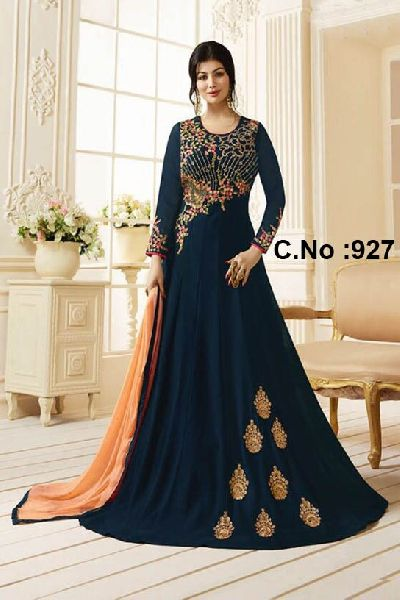 64336bf3eef designer black wedding wear anarkali suit Manufacturer in Surat ...