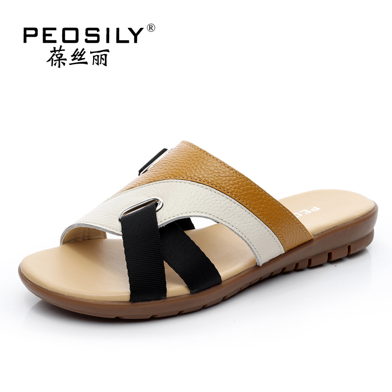 LEATHER THONGS PLUS SIZE WOMEN SLIPPERS