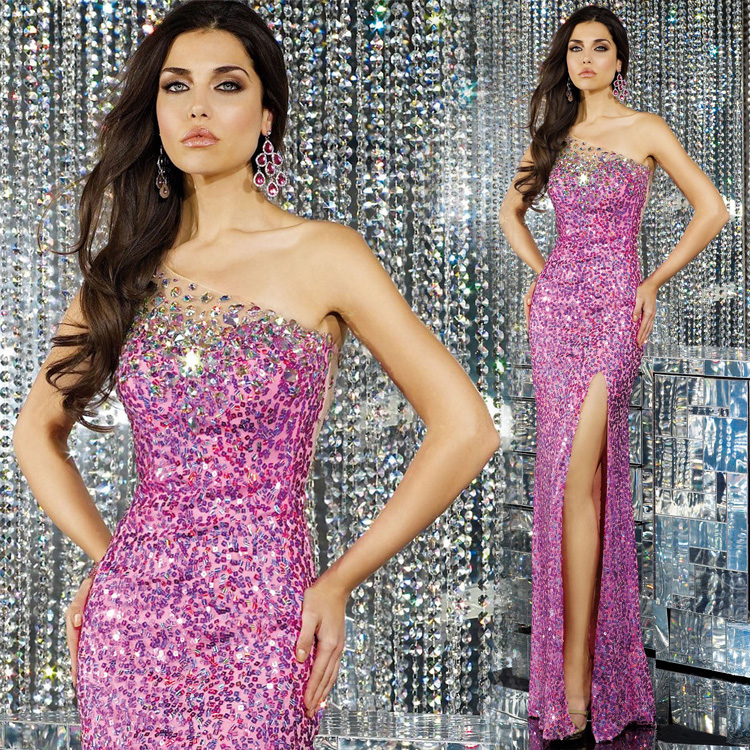 ONE-SHOULDER FISHTAIL SEQUINS LONG BANQUET TOAST SEXY DRESS