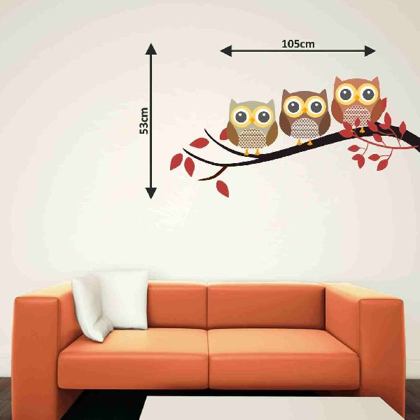 decor kafe owl on branch wall sticker manufacturer in rajasthan