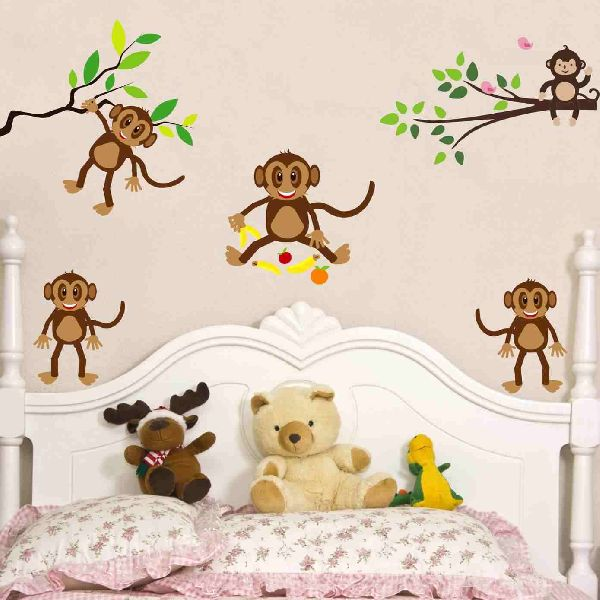 decor kafe playing monkeys wall sticker manufacturer in rajasthan