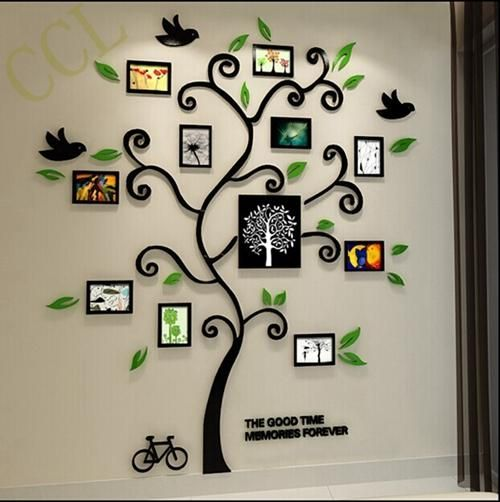 3D Crystal Acrylic Family Tree Photo Frame Wall Art