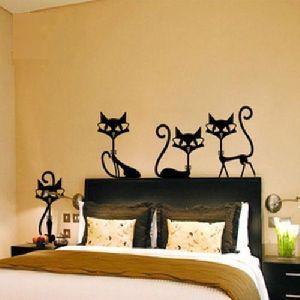 4 Black Wall Vinyl Cat Stickers