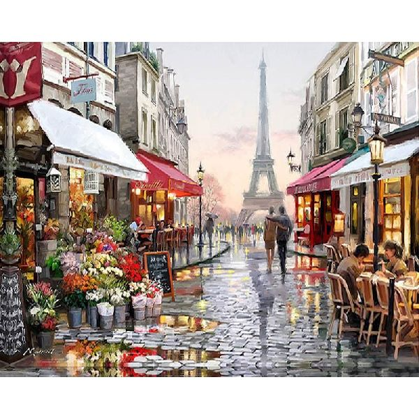 Frameless Paris Street Canvas DIY Hand Paint Wall Art