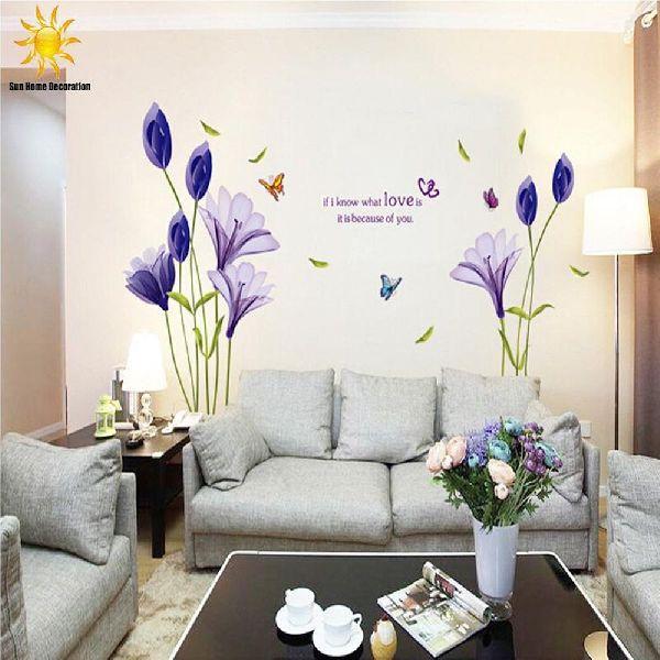 Purple Tulips Flowers Wall Stickers