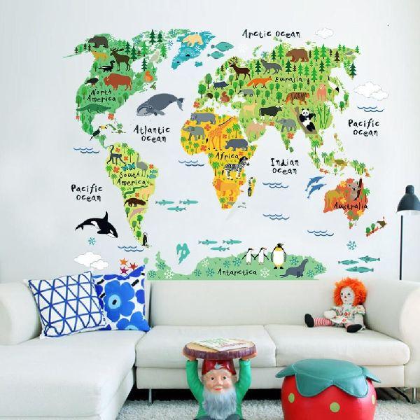 Vinyl Animal World Map Wall Art