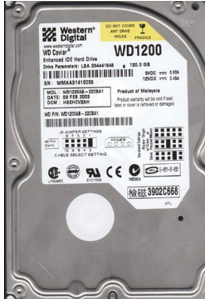 ATA IDE 120GB 5400RPM WESTERN DIGITAL WD1200AB Hard Disk Drive