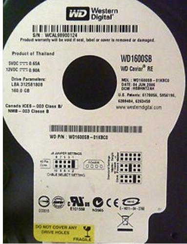 ATA IDE 160GB 7200RPM Western Digital WD1600SB Hard Disk Drive