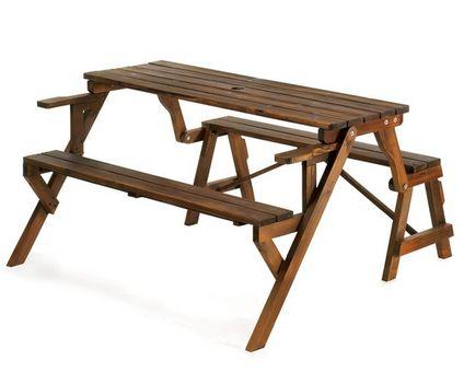 Rustic Wood Convertible Garden Table