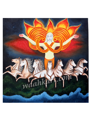 Buy Surya Dev With Seven Horses Canvas Painting From Indu