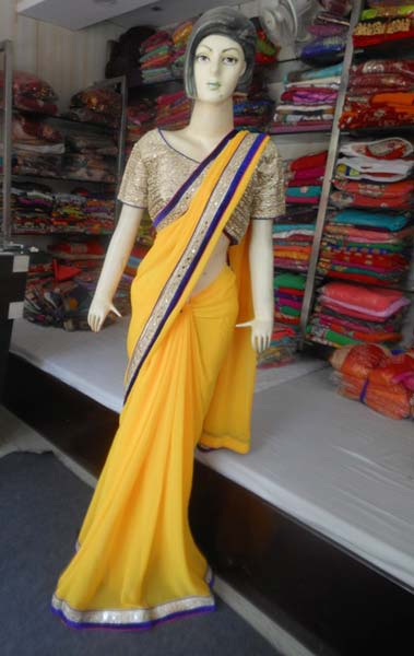 3a03445f1678d1 Designer Plain Georgette Yellow Saree With Mirror Work Blouse ...
