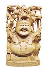 White Wood Laughing Buddha