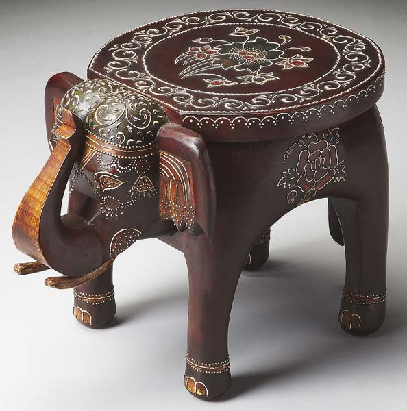 Genial Wooden Painted Elephant Table