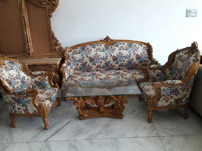 Buy wooden carved sofa set from waseem exporter india