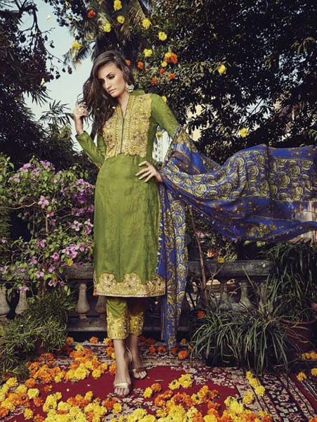 Glace Cotton Jacquard with Embroidery Suit (915)